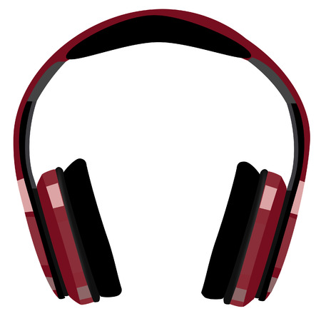 bordo: Bordo, red headphones raster icon isolated, music