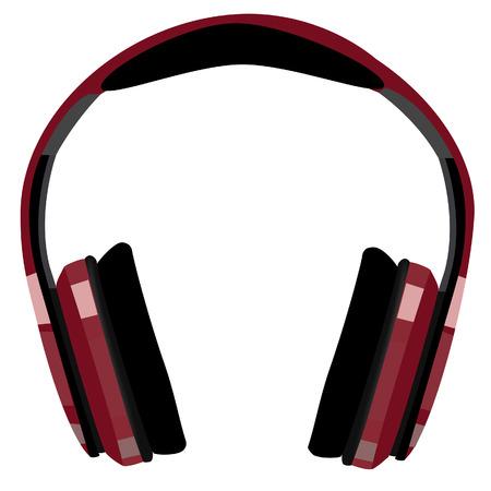 raster: Bordo, red headphones raster icon isolated, music