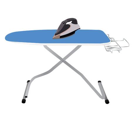 Blauw strijkplank en grijs gietijzer raster Stockfoto
