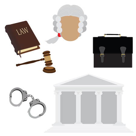 law book: Law icon set with judge in old wig, handcuffs, courthouse, briefcase, gavel and law book Stock Photo