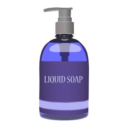 jabon liquido: botella de jabón líquido de color púrpura aislado en blanco