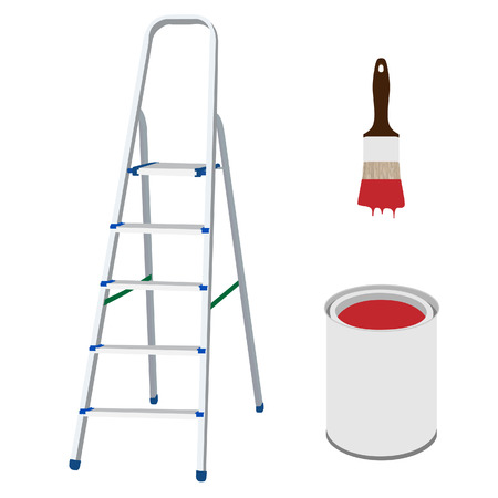 paint bucket: raster illustration of work tools metal step ladder, paint brush with red paint and paint bucket