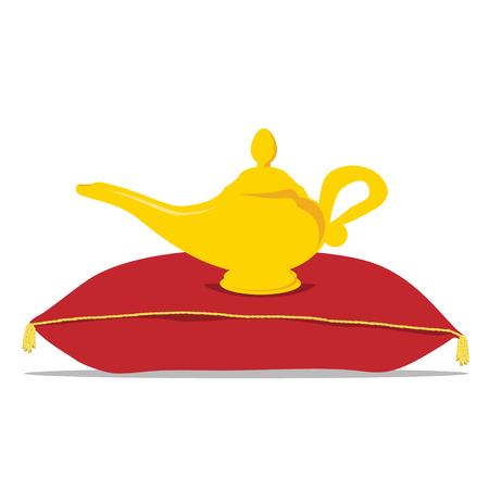genio de la lampara: genio de la l�mpara m�gica de oro ilustraci�n de la trama en la almohada de terciopelo rojo de lujo Foto de archivo