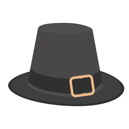 Black pilgrim hat with buckle vector illustration. Thanskgiving holiday symbol Illustration
