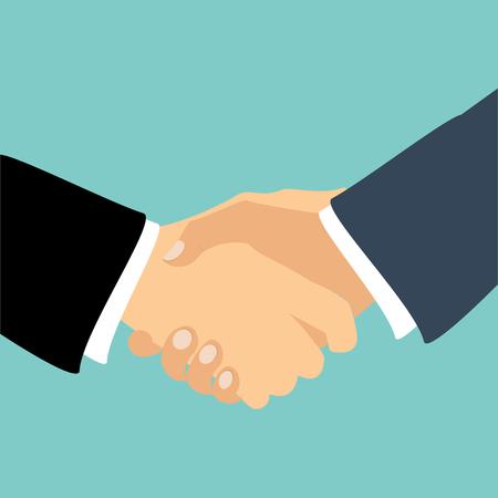 ベクトルの握手の図。ビジネスと金融の背景。パートナーシップ シンボル、コンセプト