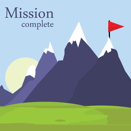 mision: Vector bandera plana en la montaña. Ejemplo de éxito. el logro de metas. Concepto de negocio. Misión cumplida