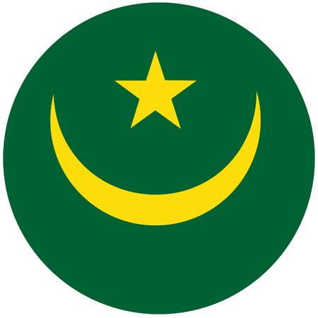 mauritania: Vector illustration of mauritania. Round natianal flag of mauritania. Mauritanian flag