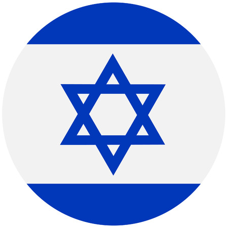 Vector illustration of israel flag. Round national flag of israel with david star. Israelian flag