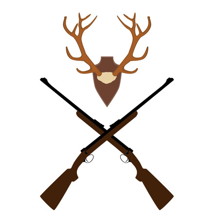 horny: Vector illustration of deer, antler horns. Animal horn. Two crossed rifle. Hunting weapon