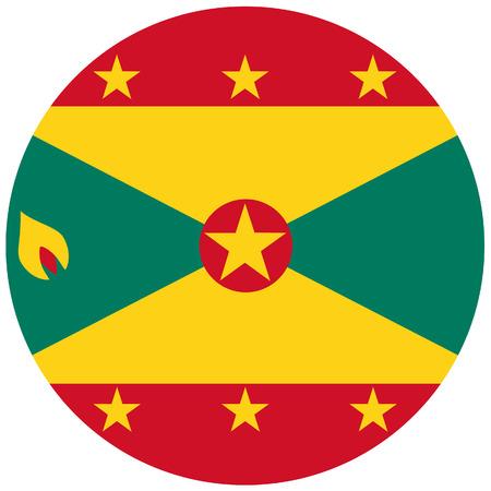 grenada: Vector illustration of grenada flag. Round national flag of grenada