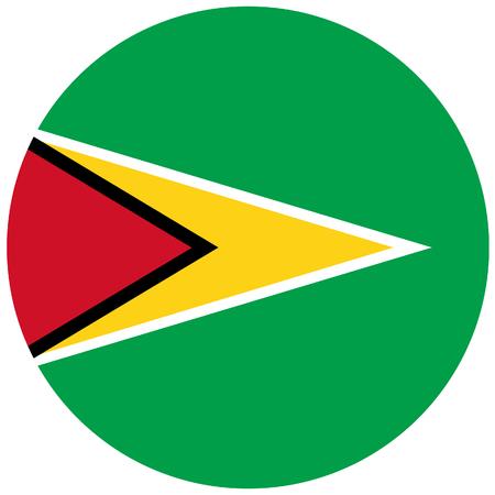 continental: Vector illustration of guyana flag. Round national flag of guyana