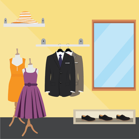 clothes: Clothing store. Man and woman clothes shop and boutique. Shopping, fashion, hat, accessories. Flat style vector illustration.