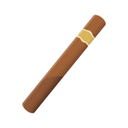 Vector illustration of a luxury Havana cigar with label. Cigar. An expensive cigar.  イラスト・ベクター素材