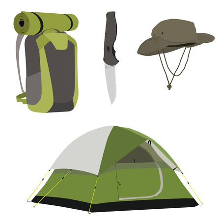 tent vector: Camping equipment green camping tent, travel backpack, knife and exlporation hat vector illustration. Camping gear icon set Illustration
