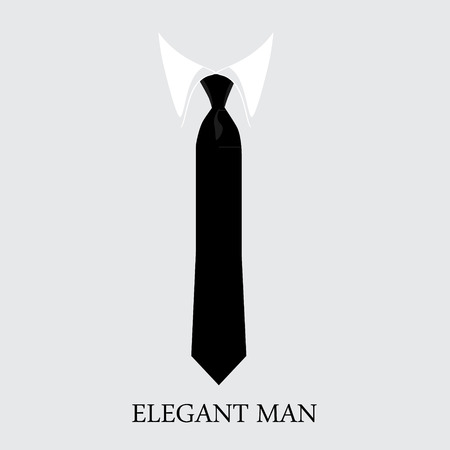 taylor: Black necktie. Vector illustration white shirt and black tie on grey background with text elegant man. Illustration