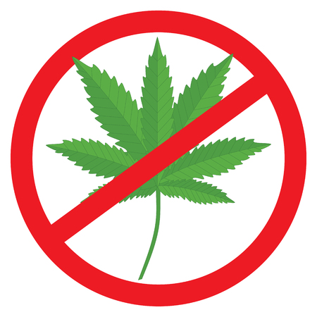 illegal zone: Vector illustration prohibition of marijuana. Cannabis and hemp, warning and forbidden.  No cannabis sign
