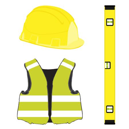 construction helmet: Yellow building set with bubble level, building helmet, vest, protective workwear
