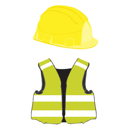 Yellow building helmet and vest vector set, protective workwear, worker Illustration