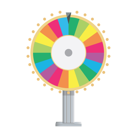 spinning: Vector illustration wheel of fortune. Lucky spin icon in flat style.
