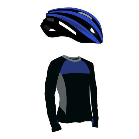 sports uniform: Blue bicycle helmet and shirt vector set, sports uniform, sport equipment, biking clothes, bicycle clothes Illustration