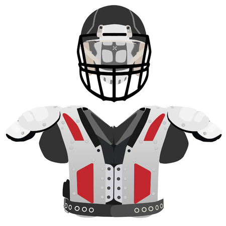 defense equipment: American football helmet and armour vector icon set isolated, defense, sport equipment Vectores
