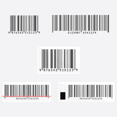Bar code vector icon set or collection. Barcode icon. Bar code tag, sticker. Bar code scanning with laser beam, light