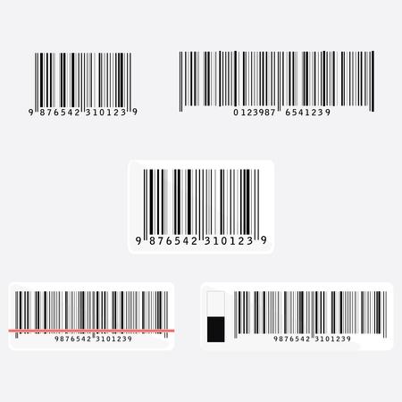 ref: Código de barras vector icono conjunto o colección. icono del código de barras. Barra de la etiqueta de código, etiqueta engomada. lectura de códigos de barras con rayo láser, luz