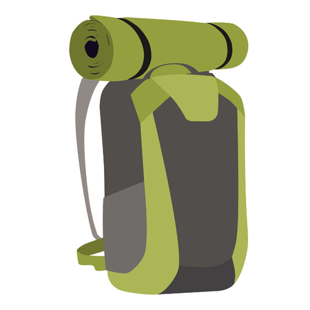 exploring: raster illustration of green travel backpack with hiking mat. Hiking backpack. Exploring backpack Stock Photo