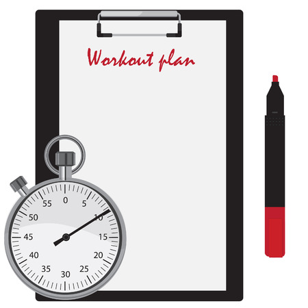 pen and marker: Workout plan on clipboard, red marker pen and stopwatch counter. Stock Photo