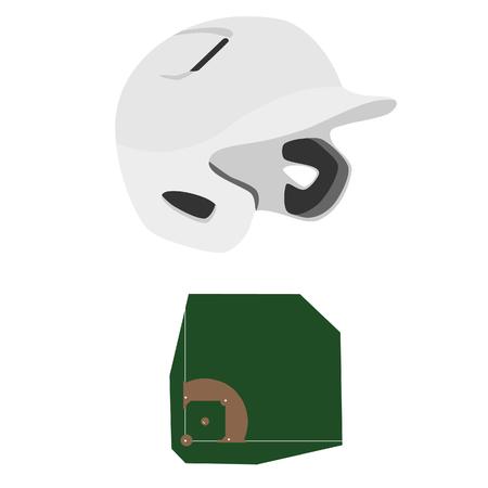 baseball diamond: White baseball batting helmet and baseball field, diamond raster isolated