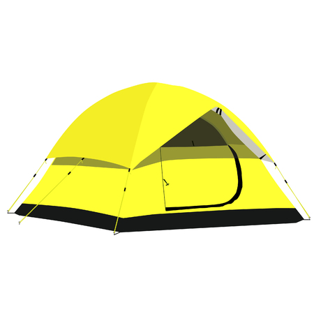 camping equipment: Yellow camping tent raster illustration. Camping equipment, camping gear, camping icon Stock Photo