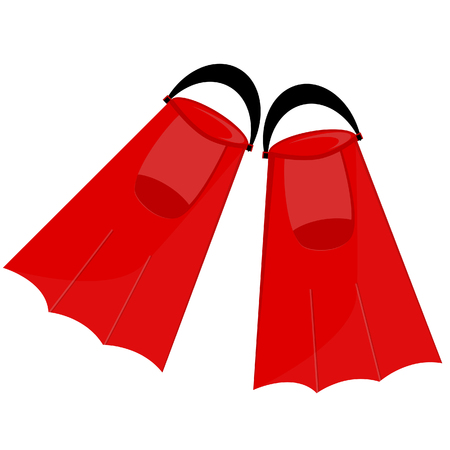 flippers: Red flippers, flippers isolated,diving equipment, swimming tourism