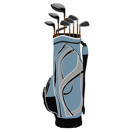 sport equipment: Blue golf clubs bag, sport equipment, isolated on white