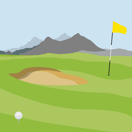 raster illustration of golf field, ball and flag with mountain landscape. Golf course. Stock Photo