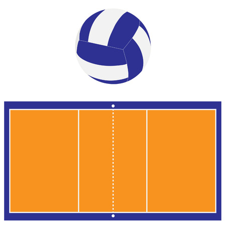 indoor court: Indoor orange and blue volleyball court and blue and white volleyball ball raster set isolated