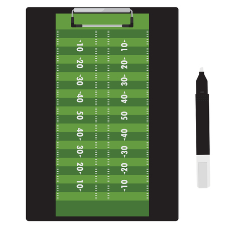 football field: raster illustration marker pen and clipboard with soccer football field on it.