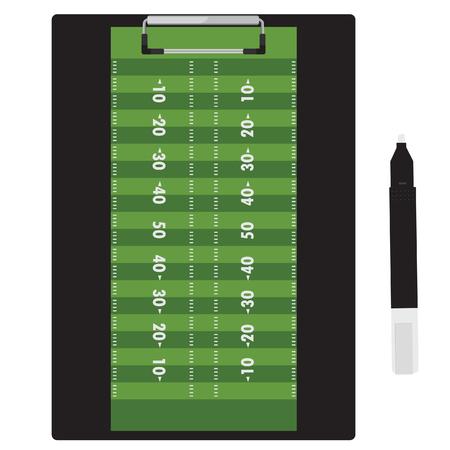 terrain foot: raster illustration stylo marqueur et presse-papiers avec terrain de football de football sur elle.