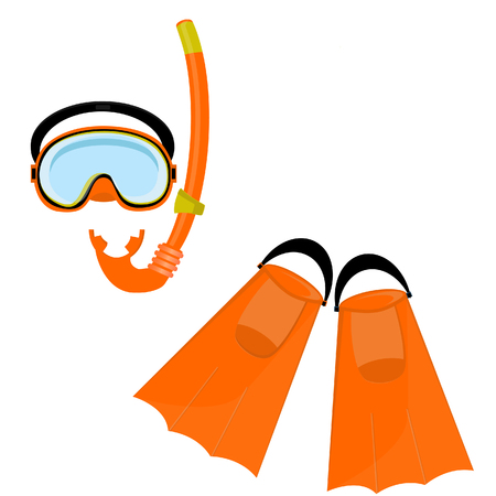 Orange diving maks, diving tube, swimming equipment, flippers Stock Photo
