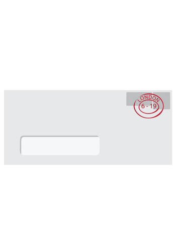 pasted: raster illustration white envelope with transparent window, two postmarks and round post stamp Stock Photo