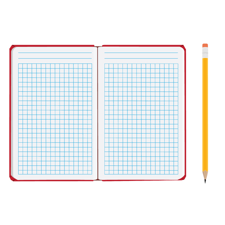 squared: raster illustration of blank empty  notepad, notebook. Opened notebook. Squared sheet paper and pencil
