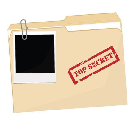 raster illustration file folder with stamp top secret and polaroid photo. Office documents 스톡 콘텐츠