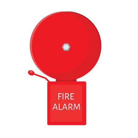 fire alarm: Red fire alarm bell raster isolated, warning noise