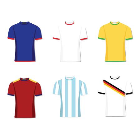 soccer uniform: Soccer uniform or football of national teams. argentina brazil spain france germany england. raster illustration