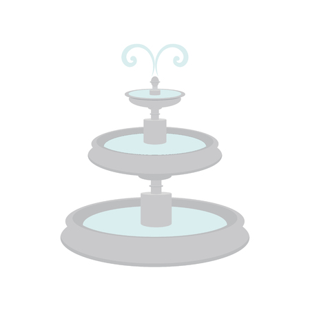 playpen: raster illustration fountain with water splash. City element. Grey fountain icon