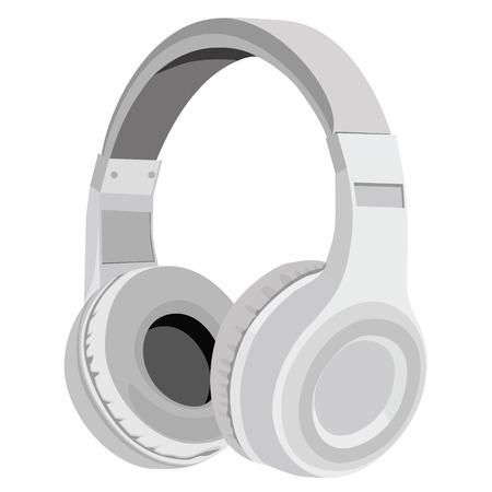 raster illustration: raster illustration realistic grey headphones icon. Stereo headphones