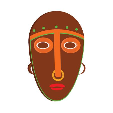 tiki head: raster illustration african mask. Tribal mask icon. Totem mask Stock Photo