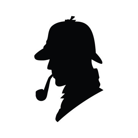 spotter: Detective raster profile icon, logo. Detective raster silhouette. Man in hat, agent spy, private and mysterious, human inspector