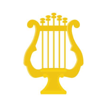 lyra: raster illustration greek golden lyre or harp. Music instrument