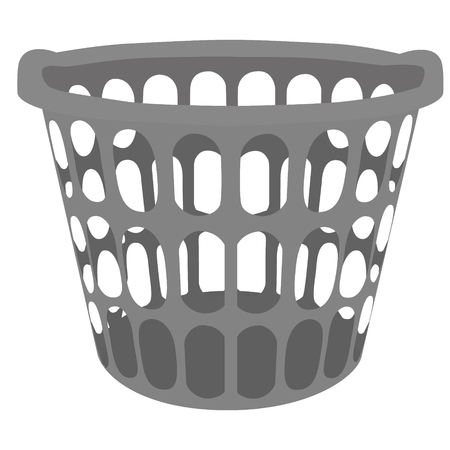 dry cloth: raster illustration grey plastic laundry basket. Basket for clothes
