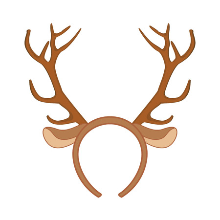 cintillos: máscara de renos. Ilustración divertida cuernos de reno de Navidad.